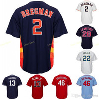 efbef27be New Arrival. Houston Jersey 2 Alex Bregman Astros Stitched Men s Majestic  Alternate Blue White Rainbow Official Cool Base ...