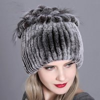 Women Fur Hat For Winter Natural Rex Rabbit Fox Fur Cap Russ...