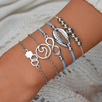 Mode Argent Perle géométrique Weave Charm Bracelets Ensemble pour les femmes Boho Vintage Shell chaîne en cuir Bracelet Parti BB86