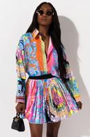 2020 2 Stück Set Sexy Herbst Mode Frauen Zweiteiler Kleider Set Frauenoberteile mit Blumenmustern Langarm-Shirt elastische Taillen-Miniröcke