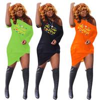 Mulheres Irregularidade Off Shoudler Vestidos de Verão Moda Poppin Impresso Vestido Mangas Curtas T Camisa Vestido Sexy Boate Roupas S-3XL C72307