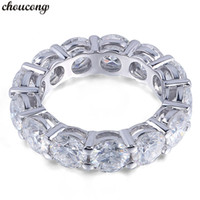 choucong Eternity Ring Round 6MM 5A Zircon Sona Cz 925 Sterl...