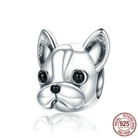 Mix Design Pure 925 Sterling Silver Bulldog Animal Charm Fit Bracelet Jewellry Charms For Snake Bracelets Women Gift wholesale italian jewelry