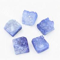 Raw 20Pcs 10 millimetri Sqaure Argento Angelo Aura titanio Druzy Geode agata di cristallo Cabochons Cluster tinta Blu Rosa Drusy pietra preziosa Cabs rifornimento di DIY