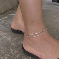 Novo Estilo de Verão 925 Esterlina Prata Dupla Camada Corrente de Corrente de Corrente Pulseira Moda Romântico Liso Liso Beads Anklet Foot Jóias