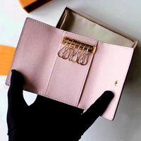 الجملة مفتاح المحفظة للرجال أعلى جودة متعدد الألوان الجلود قصيرة محفظة سيدة ستة مفتاح حامل النساء الرجال الكلاسيكية سستة جيب مفتاح سلسلة