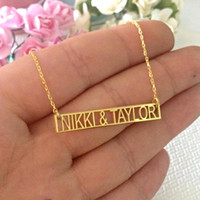 Statement Personalized Couple Names Charm Necklaces Custom Roman Numeral Date Greek Letters Hollow Bar Necklace Handmade Jewelry