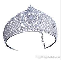 Katesolo Muhteşem Köpüklü Temizle Büyük Düğün Pageant Tiaras Hairband Gelinler Için Kristal Gelin Taçlar Saç Takı Başlığı