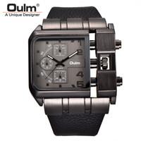 Oulm Marca quadrante quadrante grandi orologi da uomo Top Brand Luxury Sport maschio orologio al quarzo Ampia pelle PU orologio da polso erkek kol saati