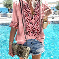 New Women Summer Sexy Loose Deep V Short Sleeve Solid Color ...