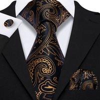 Fast Shipping Silk Tie Set Black Gold Paisley Men's Wholesale Classic Jacquard Woven Necktie Pocket Square Cufflinks Wedding Business N-5135