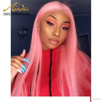 150 Density Pink Color Brazilian Human Hair Full Lace Wigs S...