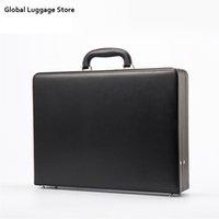 Ledermens Befestigen Aktentasche Erweiterbare Laptoptasche Passwort Multifunktionale Toolbox Mode Koffer Schwarz Hot