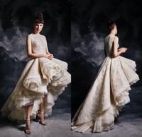 Champagne Ruffles Hoge Low Prom Dresses 2020 Juweel Hals Luxe Kant Beaded Ashi Studio Arabisch Dubai Avond Draagtoga Zuhair Murad