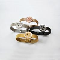 مزيج اللون مجوهرات الفولاذ المقاوم للصدأ ووتش حزام سوار مايكرو تمهيد تشيكوسلوفاكيا سوار الإسورة ، حرف A-Z لاختيار BG257 الخاص بك