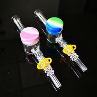 Mini verre Récupérateur Kit Accessoires de fumée 10 mm 14 mm Quartz Conseils Keck Pince silicone huile cire Conteneur pour le tabac Pipes fumeurs