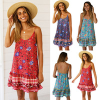 2019 New Hot Strand-Sommer-Frauen-Blumen Sleeveless beiläufige Abend-Party-Vintage Boho Maxi-Kleid