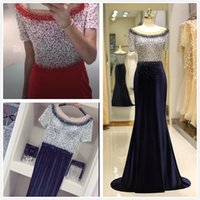 2019 Navy blue Red Long Evening Dresses Arabic Tulle Crystal...