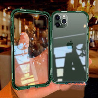 Dla iPhone 11 Pro Max Magnetyczny adsorpcja metalowa zderzak przedni tylny podwójny szklany pokrywa 50 sztuk / up