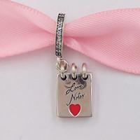 AJC1348Authentic 925 Perles Sterling Sterling Beads Love Notes Charm, Clear CZ Crimson Rouge Enamel Charms Convient aux bijoux de style Pandora européen Bracel
