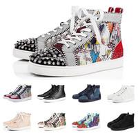 2019 Tênis de grife de Moda designer de sapatos red bottoms para mulheres dos homens de alta corte preto branco Spikes Genuine Leather casual rebite Sneaker