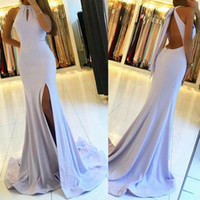 Sexy  Side Split Mermaid Long Prom Dresses Halter Backless F...