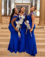 2020 bleu Afrique du Sud royal de sirène de demoiselle d'honneur Robes Custom Made robes pour tulle sexy mariage v cou Nigerian style robe turquoise