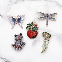 الكريستال حجر الراين الضفدع اليعسوب والفراشات تصميم بروش عيد الميلاد الكريستال طية صدر السترة دبوس بروش المجوهرات