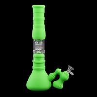 base de vaso bongs de silicona pipas de agua 3 filtro de vidrio tazón aceite de silicona dab plataforma con receptor de hielo DHL envío gratis