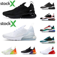 Stock x 270 react men women running shoes triple black white...