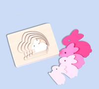 어린이 동물 판지 3D 퍼즐 멀티 레이어 직소 퍼즐 아기 장난감 아동 조기 교육 에이즈 나무 장난감