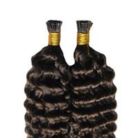 Keratina italiana Stick I TIP Extensiones de cabello humano # 4 Dark Brown Pre Sticked Stick Virgin Chinese Deep Wave Extensiones de cabello Remy Envío gratis