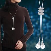 Püskül kolye kolye Rhinestone Kristal İnci Uzun Zincir kolye Yeni Moda Kadınlar Metal Uzun Triko Parti Kolyeler Takı