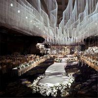 Proveedor de bodas cortina de tela telón de fondo cortina cortinas de techo Ornamento Colgante Pista Pantalla Escenario Telón de fondo Suministros Fiesta Hotel Banquete