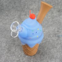 New silicone pipe ice cream dry herb rubber smoking pipes stash glass little pipe bowl silicon water bong popular in US