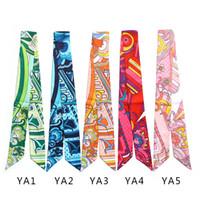 Fiore di vernice colorata del sacchetto di mano delle sciarpe delle donne Piccolo Limita Silk Hat sciarpa del fazzoletto da collo Stampa Copricapo Handle Bag lungo nastro Sciarpe Wraps