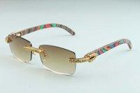 20 nuevos patrones de color natural gafas de sol templo de madera, tamaño de 3524012 (2) de lujo amarillo grande de diamantes de lujo gafas de sol de las gafas de sol: 56-18-135mm