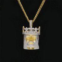 Hiphop Gioielli Full Diamond Crown Gesù ciondolo collane per uomo Top Hip Hip Catene d'oro strass Pop Party Accessorio
