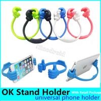 OK Stand Thumb Design Универсальный портативный держатель Резиновый планшетный телефон Держатель для планшета iPad iPad iPhone Samsung Galaxy S9 Розничная упаковка
