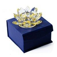 Crystal Lotus Form Kerze Halter Buddhistische Blume Teelicht Ständer in Geschenkbox 8 Farben Kunsthandwerk Dekoration