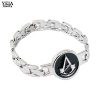 Assassins Gioco Metal Bracelet Croce Chain Link Charm Bracelet Creed Bangle Gioco Cosplay Gioielli Uomo Donna pulseira masculina