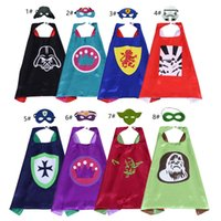27inch Double layer Superhero Cape with Mask for kids 8 styl...