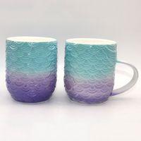 Dream Fish Tail Mug Красочные Русалка Моделирование Керамическая Чашка Зеленый Фиолетовый Цвет Блок Кружки Новое Прибытие 17 2fg L1