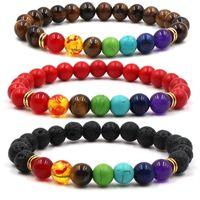 Tiger olho vulcânico pulseira de pedra homens mulheres 7 chakra natural ioga grânulos braceletes pulseira elástica moda jóias kimter-m476a f