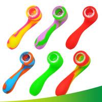 Mehrfarben-Silikon-Rohr Ölbrenner Rauchrohre Tabakpfeife Mini Löffel Pipes Bubbler Dab Wasserpfeifen Rauchzubehör VT0068