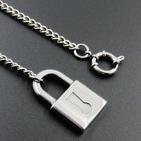 Unisex Lock Necklace Fashion 304 Stainless Steel Lock Pendant Necklace With Rolo Chain Jewelry For Men