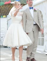 1950s Short Lace Wedding Dresses Bateau Half Sleeve Knee Len...