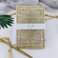 Glitter Gül Altın Lazer Kesim Düğün Davetiyesi Glitter Kişisel Ekle Göbek Band, Çiçek Düğün Davetiyesi