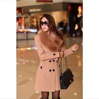 2015 겨울 여성 더블 브레스트 큰 모피 칼라 플러스 사이즈 울 코트 긴 겨울 재킷 파카 코트 겉옷 고품질