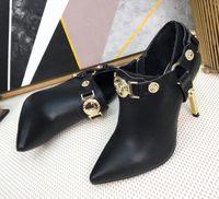 2019 горячий продавать металлические украшения сапоги на высоком каблуке сексуальные острым носом ботильоны женщина черные кожаные сапоги золотой каблук botas